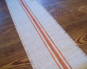 Grain Sack Style Burlap Table Runner with Hand Painted Orange Stripes 10 x 48 by North Country Comforts - More Colors Available