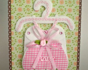 Baby Card - Baby Girl Outfit, handmade new baby girl card, welcome new baby,