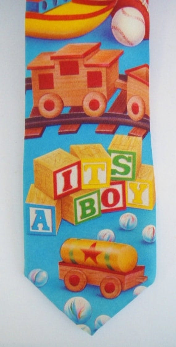 90s Toys For Boys : Vintage s its a boy necktie ralph marlin blue toys by