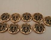Vintage Castle  Emblem Design Metal Bronze Tone Color Button 2 Holes