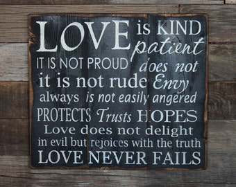 Large Wood Sign - Love is Patient  - Subway Sign