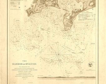 1850 Nautical Chart of Hyannis Harbor