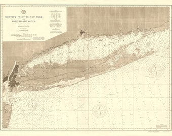 1896 Nautical Chart of Long Island Sound