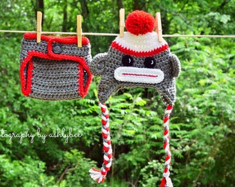 Sock Monkey Crocheted Hat and Diaper Cover - Photo Prop Set - Available in Newborn, 3 to 6, 6 to 12 and 12 to 24