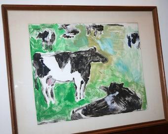 """Cows Monotype, Vintage Art, Framed Paint on Paper, Original Monoprint, 19"""" x 24-1/2"""" Cow Art"""