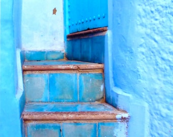 MOROCCAN PHOTOGRAPHY - blue Chef Chaouen -  stairway - blue door and blue walls - Morocco - North Africa - 5 x 7