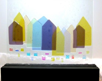 Art Glass Abstract  Sculpture Coastal Maine Village At Christmas Time Artist Signed
