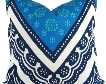 Trina Turk Tangier Frame Designer  Indoor Outdoor Pillow Cover, Schumacher, 18x18, 20x20,22x22, or lumbar pillow, Pool pillow covers
