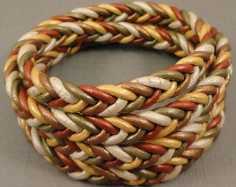 Metallic Leather Braid Wrap Bracelet