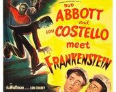 "Abbott and Costello Meet Frankenstein - Horror Movie Poster  13""x19"" - Vintage Comedy Movie Poster - Wolfman Lon Chaney Dracula Bela Lugosi"