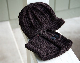 Ready-to-Ship Boy's Brimmed Beanie and Diaper Cover Photo Prop Set - Black Newborn size