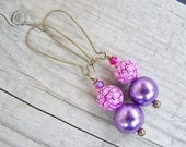 Polymer Clay Glass Pearl Earrings Swarovski Pink Purple