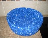 Blue Basket, Blue Stars, Rag Rope Cloth Bowl
