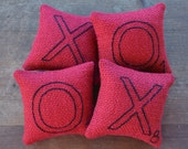 Valentines Day XOXO Decorative Pillows - Red Burlap Bowl Fillers - Scrabble Letter Tucks - Wedding Decor - Hugs and Kisses - Pink Hearts