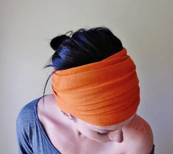 Burnt Orange Head Scarf Hair Wrap Headband Spring By Ecoshag