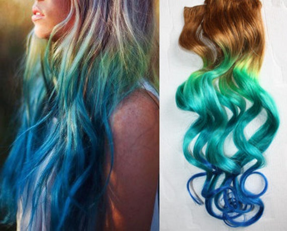 mermaid clip in hair extensions ombre hair tie dye tips