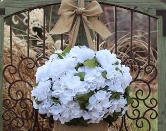 Fun Summer Wreath - Year Round Wreath - Hydrangea Wreath - Burlap Wreath - All Season Wreath