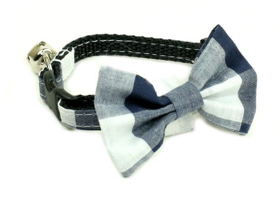 items similar to cat collar with bow tie checkered blue