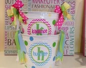 Personalized Chevron Preppy Easter Bucket