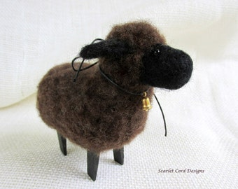Felted Sheep Needle Felted Animal Soft Sculpture Black Sheep Primitive Doll