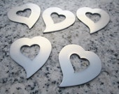 "1"" x 1 1/8"" (25mm x 29mm) Tilted Heart Washer Stamping Blank, 22g Stainless Steel - AWESOME Silver Alternative THW08-09N"