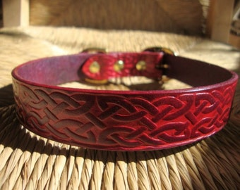 Deep Red Celtic Collar  Embossed  Leather Dog Collar. Celtic Pattern with Solid Brass Buckle. Made to Order.