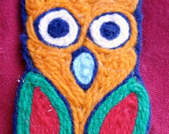 Owl ornament yarn string art figure  2 sided decoration orange blue yellow red green Vintage woodland forest hanging colorful decor