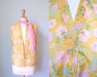 60s pastel yellow pink blue floral sleeveless blouse L