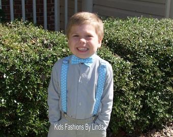 Adjustable Aqua Dot Boy Suspenders and Bow Tie