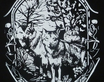 Mexican Gray Wolf Art Nouveau Backpatch