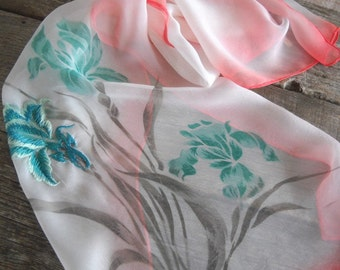 Vintage Spring Iris Sheer Scarf in Green/Coral with Embroidery - Made in Japan