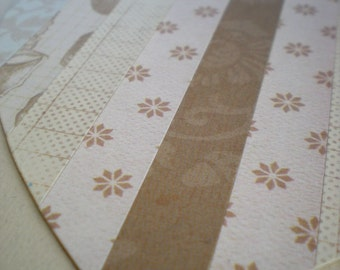 Original Collage Art Heart Love Paper Art Natural Neutral Eggshell Ivory Taupe