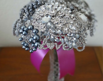 Large Crystal, Silver & Pearl Wedding Brooch Bouquet with Fleur de Lys - Ready to Ship