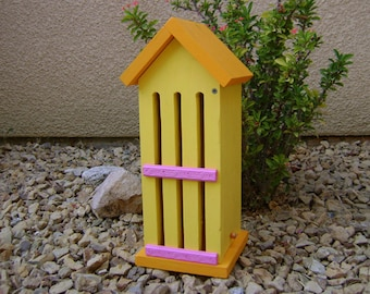 BUTTERFLY HOUSE, Yellow, Orange, Pink, Insect Hotel. Hand Made, Hand Painted Pine