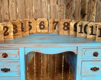 Set of 12  Wood Table Numbers Rustic Vintage Distressed Shabby Chic Wedding Chalkboards