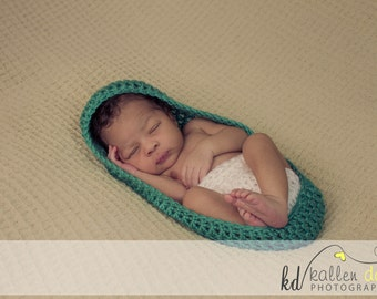 Newborn Boy or Girl Crochet Baby COCOON BOWL Pod Stretchy Acrylic --  Photo Prop ONLY -- You Pick Colors