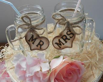 SALE Mason Jar Wedding Glasses / Mr. and Mrs. Toasting Glasses / Rustic Wedding Table Settings