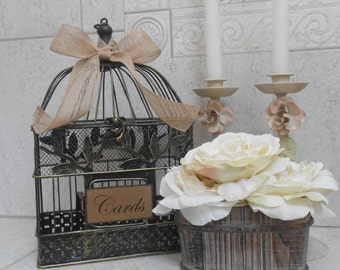 Rustic Birdcage Wedding Card Holder - Birdcage Wedding Cardholder - Card Box - Small Birdcage - Wedding Decorations - Wedding