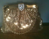 SALE Vintage Gold Mesh Whiting and Davis Evening Purse with Rhinestone Clasp