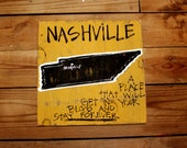 """Wooden Signs, Southern, Hand Painted, Shabby Chic, Wood Art, Distressed Wood Sign: """"Nashville""""- A Place That Gets In Your Blood"""""""
