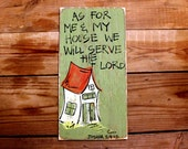 "Shabby Chic, Southern, Christian Wood Sign: ""As for Me and My House We Will Serve The Lord"" Distressed Wooden Sign"