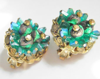 SaLe Vintage Hobe Earrings Green Blue Crystal Lava Bead signed 60s