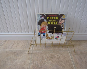 Vintage Gold Tone Wire Metal Magazine Stand / Record Holder / Magazine Rack