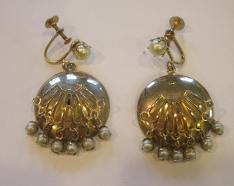 Vintage 1960s Earrings Faux Pearl Goldtone Drop Earring Screwback Round Pendant