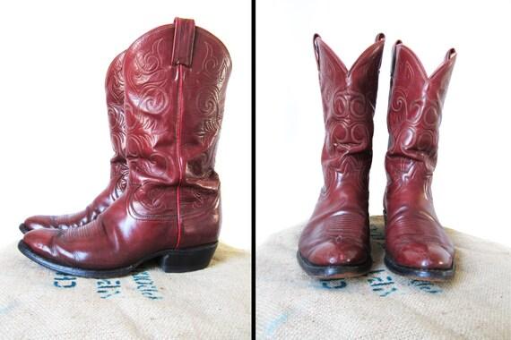 Vintage Men's Cowboy Boots Size 11 D Tony Lama 70s Oxblood Leather