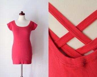 Vintage 1980's Dress - Shirt Dress - Tunic - Cherry Red Mini Dress - Size S