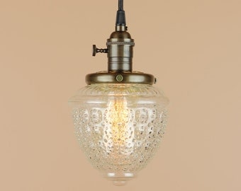 Pendant Lighting  w/ Clear Textured Globe - Antique Style Cloth Wire - Hand Finished in Oil Rubbed Bronze
