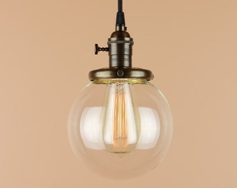 Pendant Lighting  w/ 6 inch Clear Glass Globe - Antique Style Cloth Wire - Edison Light Bulb - Hand Finished in Oil Rubbed Bronze