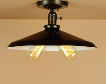Industrial Lighting w/ Large 14 inch Black Industrial Shade - Twin Light Sockets - Edison Light Bulbs - Oil Rubbed Bronze - Downrod Option