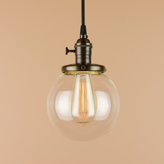 Pendant Lighting W/ 6 Inch Clear Glass Globe Antique Style